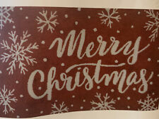 """New Merry Christmas Holiday Accent Rug 20""""x60"""" White Snowflake Red"""