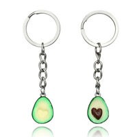 Polymer Clay Avocado Heart Pendant Keychain keyring Key Ring Chain Gift H A8A