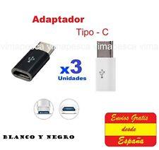 x 3 Adaptador Micro USB a 3.1 tipo C. Adaptador de micro usb a usb c 3.1