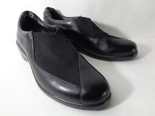 ARAVON Gabby YS 7.5AA Black Leather Slip On Loafer Wedge Heel Casual Shoe