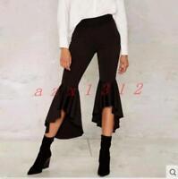 Womens Wide Leg High Waist Stretch Slim Hot Bell Bottom Pants Trousers Black