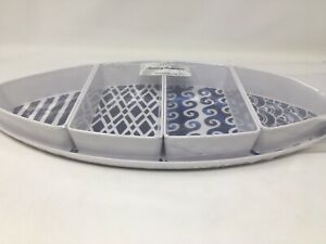 Tommy Bahama Melamine Fish Serving Dish  And SnackTray  White/blue New
