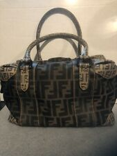 Authentic FENDI Zucca Pattern Hand Bag Brown Black PVC Canvas Italy  Pre-Owned