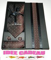 BOITE CADEAU CRAVATE POCHETTE BOUTON DE MANCHETTE & PINCE A CRAVATE NEUF #2