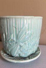 Vintage McCoy Dragonfly and Flower Pattern Blue Planter with Attached Saucer