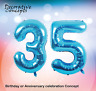 """Giant 35th Birthday Party 40"""" Foil Balloon Helium Air Decoration Age 35 BLUE"""
