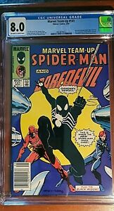 MARVEL TEAM-UP #141, 1st Black Costume!! NEWSSTAND CGC VF 8.0, OW/W Pages!