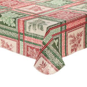 Festive Jacquard Vinyl Tablecloth 60 x 102 Poinsettia Holly Berry Holiday Table