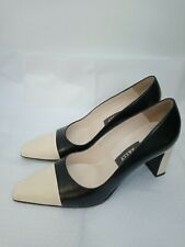 BALLY Cream & Black Leather Court Shoes Size 6 Block Heel Classic Made In...