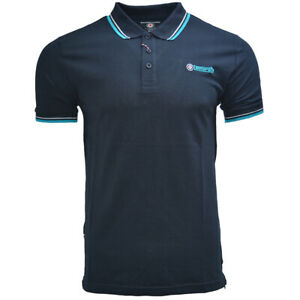 LAMBRETTA MENS TIPPED POLO LG1608 NAVY/WHITE/TURQUOISE S-4XL ONLY £15