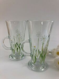 Pair of hand painted Daisy Latte Glasses