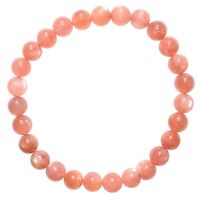 CHARGED Natural Peach Moonstone 5mm-7mm Bead Stretchy Bracelet + Selenite Heart