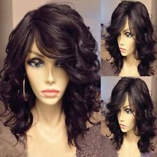 100% Real Hair!Fluffy Black Curly Capless Stunning Medium Wig Hair