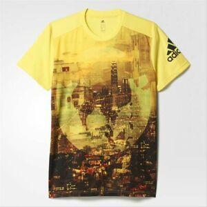 Adidas Continent Graphic City Men's Sports T-Shirt Running Logo Slim Fit Yellow