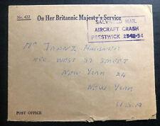1954 England Prestwick Crash Ohms Cover to New York Usa Salvaged Mail Damaged