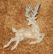 1 ACRYLIC WHITE FROSTED REINDEER CHRISTMAS ORNAMENT