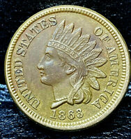 1863 Indian Head Penny Cent- ALMOST UNCIRCULATED+++ CONDITION **RARE THIS NICE**