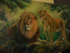 Canvas Painting of Two Lions at rest in Safari Scene by De Ana Wendling