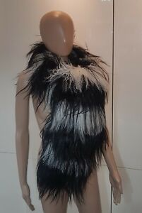 Timeless  Gucci Black White Mongolian Fur Stole Scarf Shawl Cover Up. NWOT