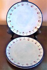 KIC Brushes Handpainted Nautical Theme Salad Plates Blue Anchors Sailboats x2