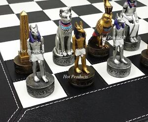"EGYPTIAN ANUBIS CHESS SET Gold & Silver Painted Men W/ 18"" Faux Leather Board"