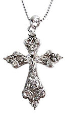 Shimmering Cross Pendant Silver Casting Pendant w/ Silver Chain Necklace