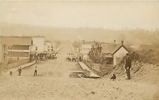 1907-1912 Real Photo Postcard; Small Town View Street Scene Unknown Canada