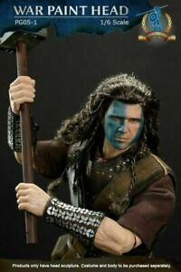1/6 Scottish William Wallace Male Panited Head Carved Sculpt Fit 12'' Man Figure