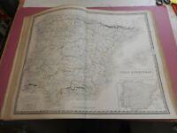 100% ORIGINAL LARGE SPAIN PORTUGAL MAP BY JOHNSTON NATIONAL ATLAS C1857 VGC
