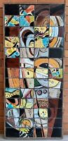 Unique Vintage 60s Abstract Ceramic Tile Wall Hanging Table Mid Century Modern
