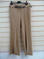 LADIES TROUSERS CAMEL SIZE 14 SMART HI WAIST  FLARED WITH BELT BNWT
