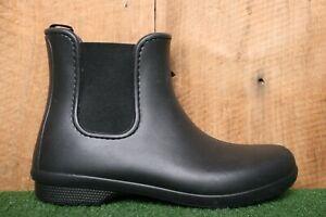 CROCS 'Freesail' Black Dual Gore Chelsea Rain Boots Women's Sz. 11