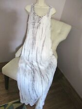 NWT Chelsea Theodore Maxi Dress 100% Cotton Gauze Grey & White Tie Dye  Lg