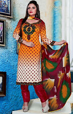 SAFFRON-RED PRINTED NECK GRGT CREPE SALWAR KAMEEZ SUIT DRESS MATERIAL LADIES DEN