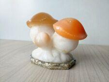 Vintage Soviet Stone Figurine Casket-stash MUSHROOMS Marble Selenite Granite