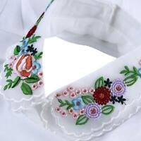 Women Ladies False Fake Collar White And Embellished Flower Floral Bust H