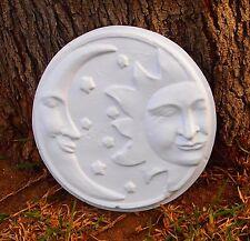 New Sun Moon Wall Plaque Mold Plastic Plaster Cement Concrete Garden Ornament