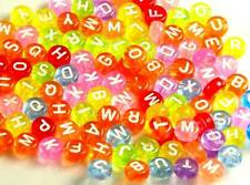 300x Round Assorted Alphabet Letter 7mm Acrylic Colored Beads 40g **UK SELLER**