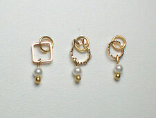 Nail Dangle - Three Gold Dangles with Swarovski Pearls #1