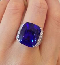 GIA certified 17 ct Cushion Shape Tanzanite and Diamond Ring in Platinum- HM1415