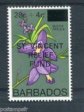 BARBADOS, ST VINCENT relief fund, 1979, timbre FLEUR BLETIA PATULA, neuf**