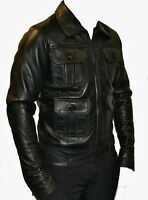 Mens Real Leather Black Fitted Retro Soft Nappa Urban Biker Jacket Zip Vintage
