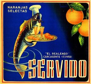 Spanish Spain Servido Fish Naranjas Orange Citrus Fruit Crate Label Art Print