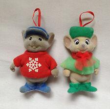 Vintage Flocked Disney's Rescuer's Bernard & Bianca Christmas Ornaments
