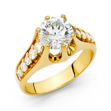 2.75-CT Unique Cathedral Round-Cut with Side Stones CZ Engagement Ring in 14K