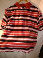 90s VTG BUGLE BOY CO Size XXL Striped COLORBLOCK Bold VAPORWAVE Polo Shirt