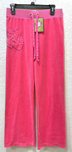 NEW Juicy Couture JC Original Precocious Heart Velour Pants Pink