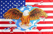 DRAPEAU 150 X 90 cm ETATS UNIS AMERICAIN AMERIQUE USA AIGLE COUNTRY BIKER MOTARD
