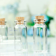 10Pcs Mini 22*50mm Empty Clear Glass Wishing Bottles Vials With Cork 10ml WT