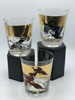 Set of 3 Vintage Les Kouba  MCM Various Birds Low Ball Cocktail Glasses